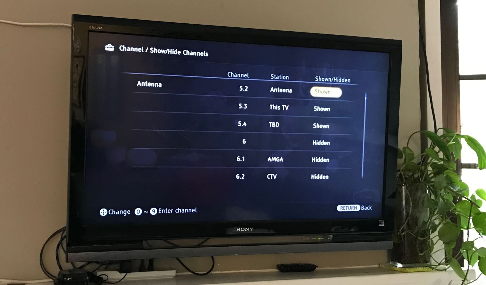 Hiding a channel on the Sony Bravia TV