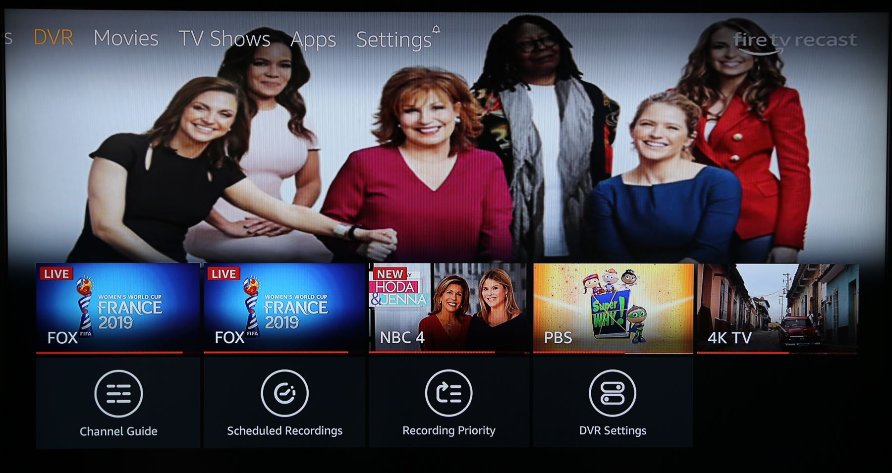 Amazon Fire TV Recast home screen
